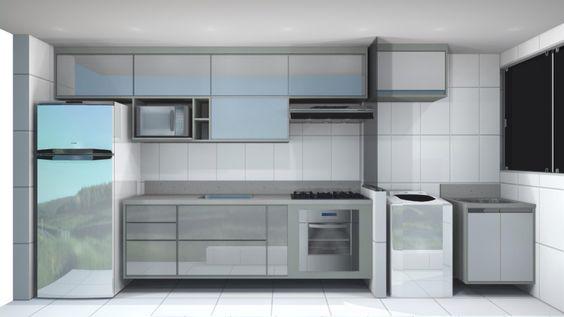 Projeto cozinha Armário com tamponamento na cor cinza e portas de vidro branc # Armario De Cozinha Planejado Porta De Vidro