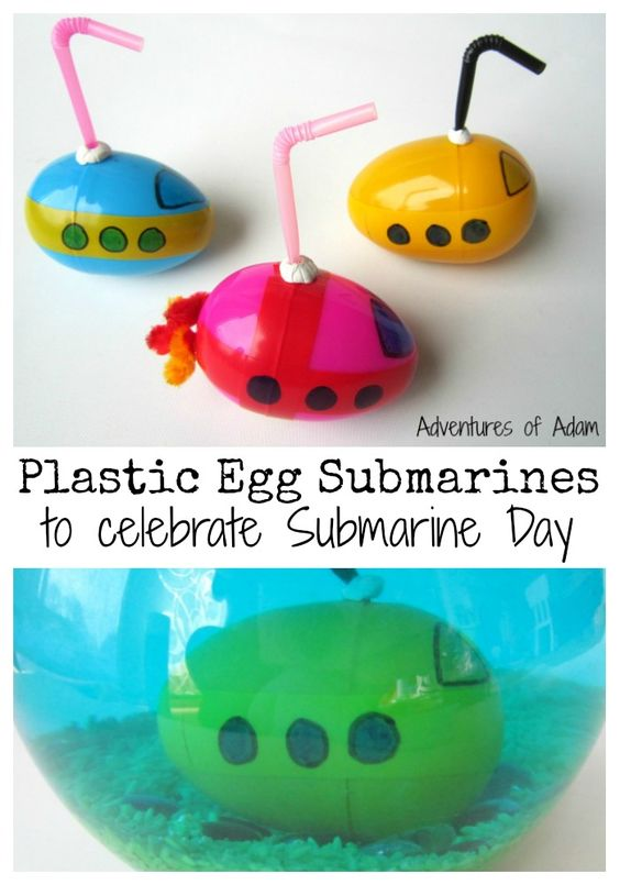 Plastic Egg Submarines to celebrate Submarine Day. These homemade submarines are great for introducing toddlers and preschoolers to the concept of floating and sinking.