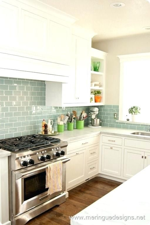 Kitchen Backsplash Tiles Are Great Decorations To Experiment With Colored Subway Tile Bac Green Kitchen Backsplash Trendy Kitchen Backsplash Kitchen Renovation
