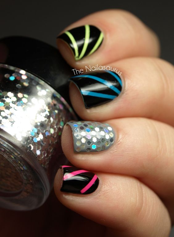 Holographic Hex Glitter Disco Nails