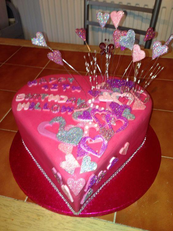 Daughters glitter heart cake