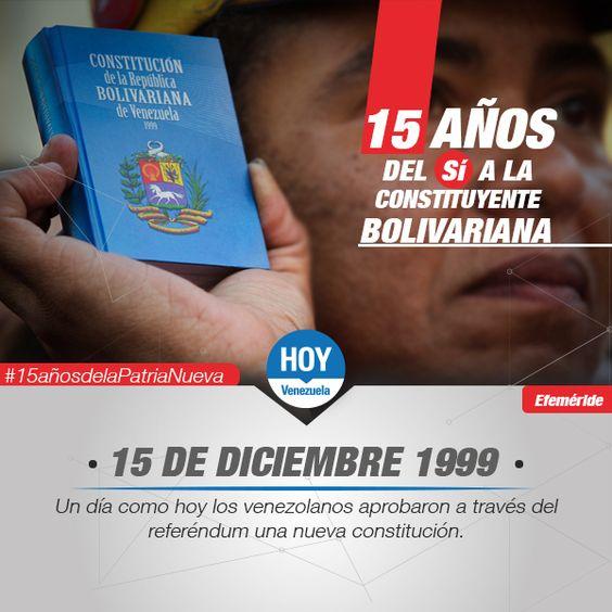 #UnDíaComoHoy 15 de diciembre en el año 199 el pueblo venezolano le dijo sí a la constituyente bolivariana