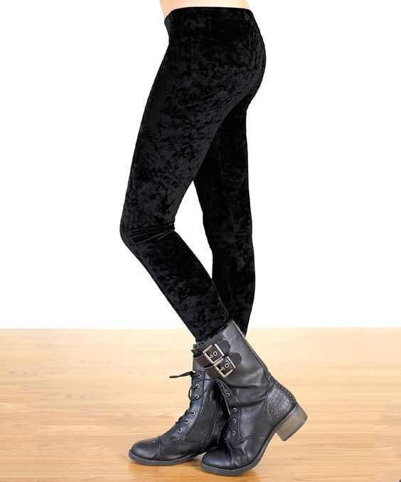 This Tough Luv Black Crushed Velvet Leggings by Tough Luv is perfect! #zulilyfinds