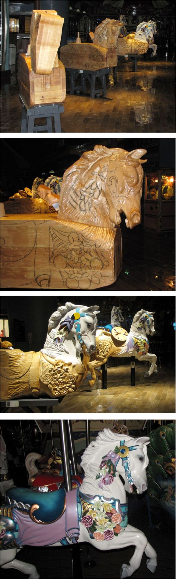 The hand-carved wooden animals in various stages of construction for use on the boardwalk carousel of the cruise ship Oasis of the Seas. It is the first carousel to ever operate at sea.: