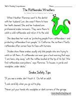 rattlesnake wrestlers Third Grade Reading Comprehension Worksheets ...