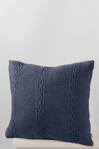 """22"""" x 22"""" Cable Knit Decorative Pillow Cover from Lands' End"""