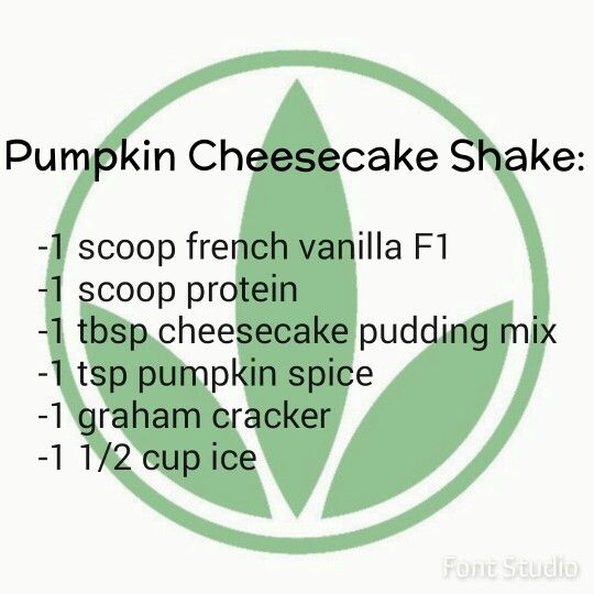 Pumpkin cheesecake Herbalife shake recipe.  https://www.goherbalife.com/meaganms/en-US