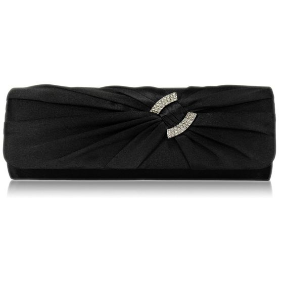 Elaine Satin and Crystal Clutch Handbag - Black  Also available in Ivory, Blue and Purple http://www.happyweddingday.co.uk/collections/bags/products/elaine-satin-and-crystal-clutch-handbag