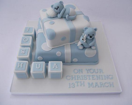 Boys Blue Bear and Building Blocks Christening Cake