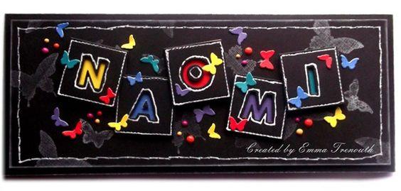 Funky teenage birthday card, personalised, alphabet dies, black card, butterflies.