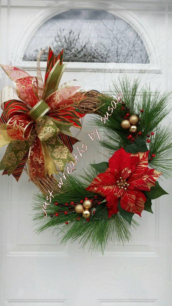Christmas Wreath, Christmas Grapevine Wreath, Poinsettia Wreath, Christmas Funky…
