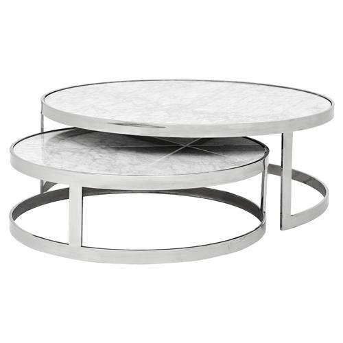 Eichholtz Fletcher Modern Classic White Marble Top Round Nesting Coffee Table Round Nesting Coffee Tables Nesting Coffee Tables Marble Coffee Table