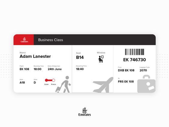 Emirates Boarding Pass Reimagined