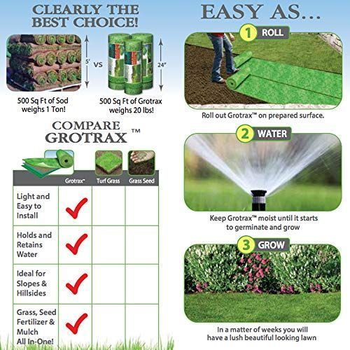Grotrax Big Roll Year Round Green Grass Seed Mixture Mat Rol Grotrax Big Roll Ye In 2020 Grass Seed Best Grass Seed Grass Seed Mat