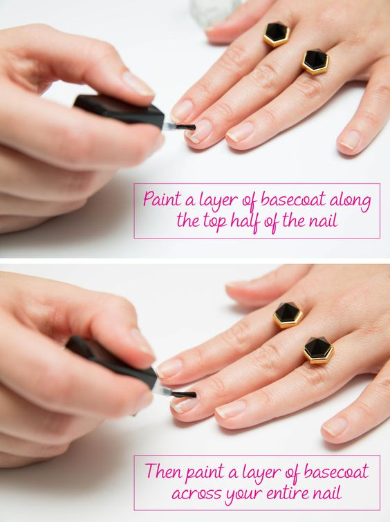 Apply two coats of basecoat to the tips of your nails. Nail tips are more prone to chipping (see: typing, texting, etc.). Apply another layer of basecoat to the top half of your nails for extra polish resilience.
