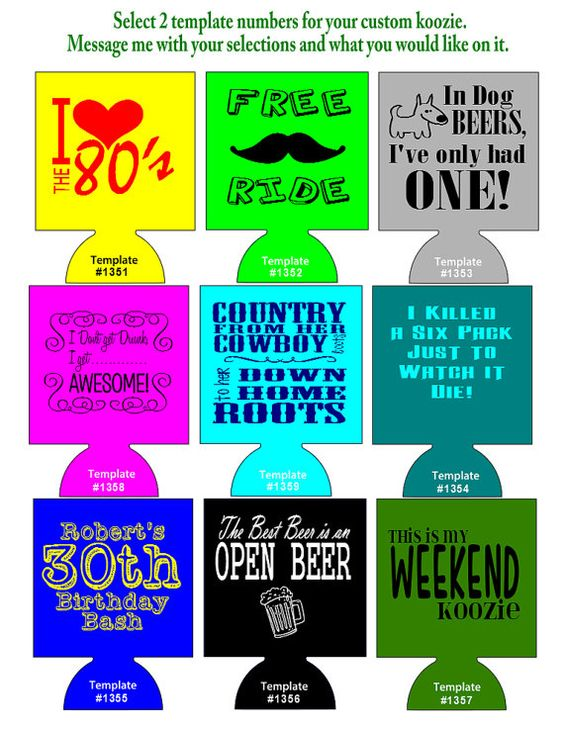 250 custom party koozies foam can coolers pick 1 or 2 templates on etsy koozies. Black Bedroom Furniture Sets. Home Design Ideas