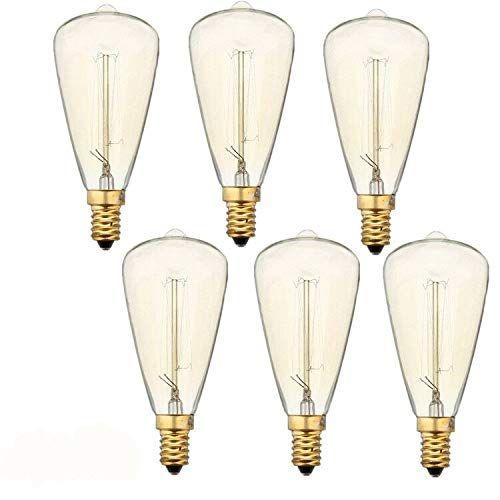 Vintage Edison Light Bulbs E12 Base 60w 110v Teardrop Warm White Nostalgic Tungsten Filament E12 Candela Edison Light Bulbs Incandescent Lamp Edison Lighting