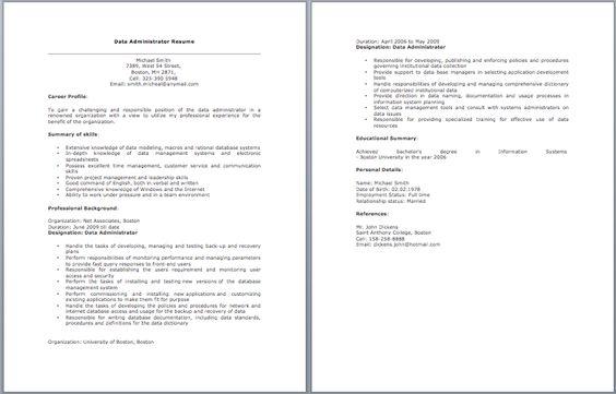 Data Administrator Resume  Resume
