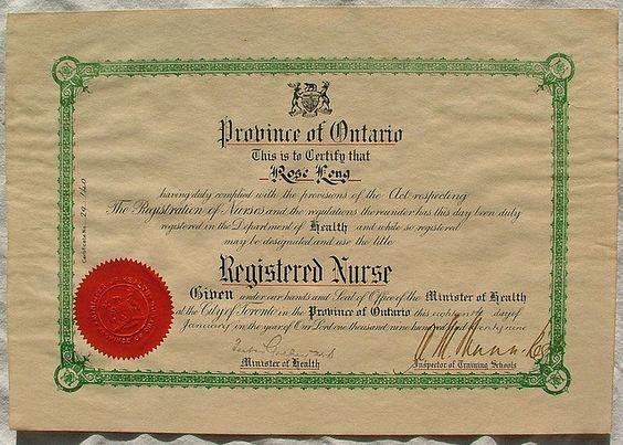 Province Of Ontario Registered Nurse Certificate  Vintage