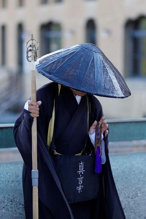 moine japonais, bleu