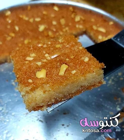 مقادير البسبوسة طريقة عمل البسبوسة في البيت مقادير البسبوسة العادية طريقة البسبوسة العادية Food Breakfast Pancakes