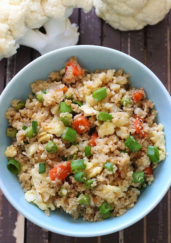 """Cauliflower """"Fried Rice"""" –Swap rice for cauliflower for this AMAZING low-carb dish which is VERY popular on Skinnytaste!"""