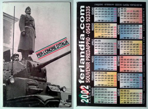 Calendarietto pubblicitario 2002 - Ferlandia Predappio