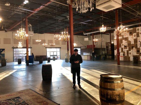 Pin By Samantha Braginsky On Garage At Monday Night Brewery Brewery Brewery Wedding Basketball Court