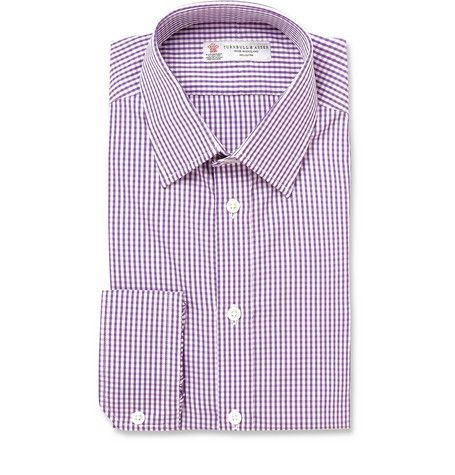 Turnbull & Asser purple gingham shirt: