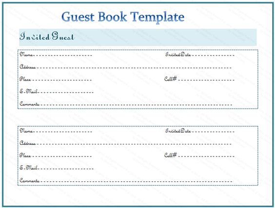Guest Book Template V10 BOOKS Pinterest Template - guest book template