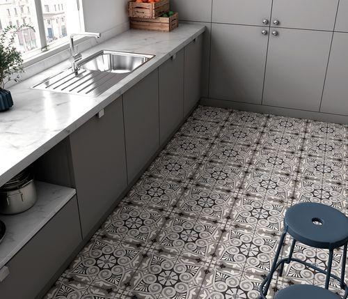 Carrelage Style Ciment 20x20 Cm Art Nouveau Opera Grey 24418 1m