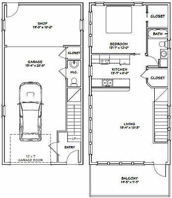 20x40 House 1 Bedroom 1 5 Bath 1 053 Sq Ft Pdf Floor Plan Model 6h Garage Apartment Floor Plans Apartment Floor Plans Floor Plans