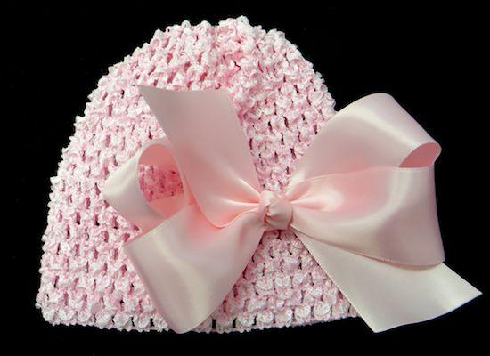 Big Bow Satin Crochet Baby Hat