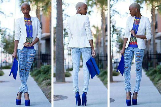 White blazer, acid wash jeans, royal blue shirt, royal blue pumps