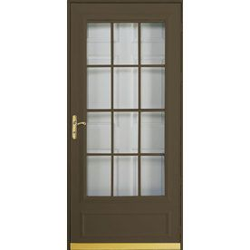 Pella cheyenne brown mid view safety retractable screen for Pella retractable screen door