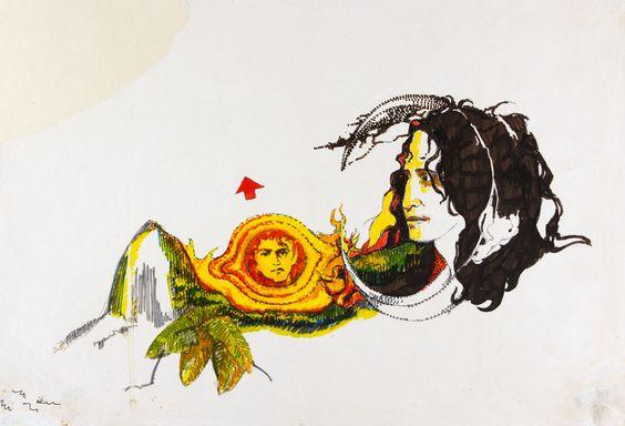 Ilustração de Flávio Império para capa do programa do show Rosa dos Ventos (1971).  Hidrográfica sobre papel