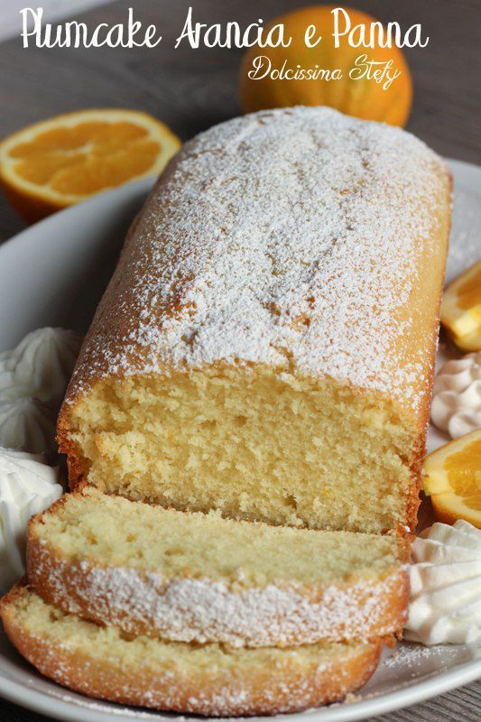 Plumcake Arancia e Panna Plumcake Orange and Cream .. sweet for breakfast, cake soft orange, plum soft, tasty snack, orange and cream
