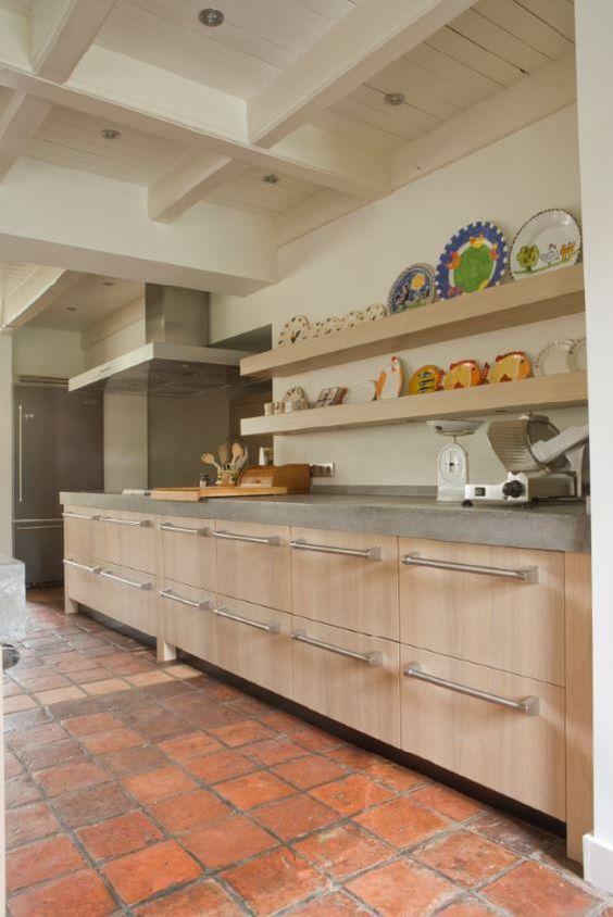 Massief 3 laags eiken houten keuken met betonnen aanrechtblad ...