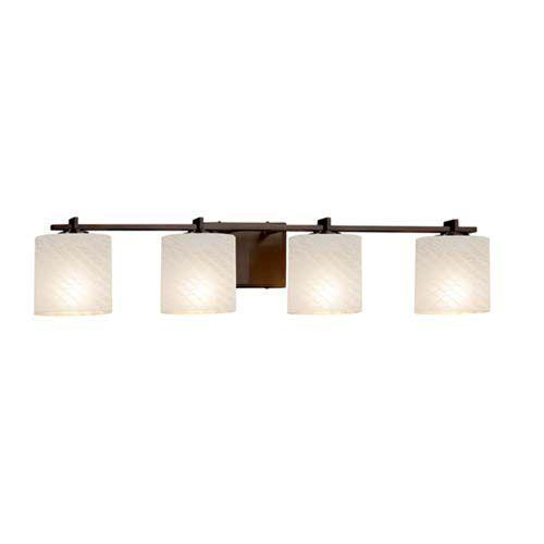 Justice Design Group Lighting FSN-8444-30-WEVE-DBRZ Fusion Era 4-Light Bath Bar Dark Bronze