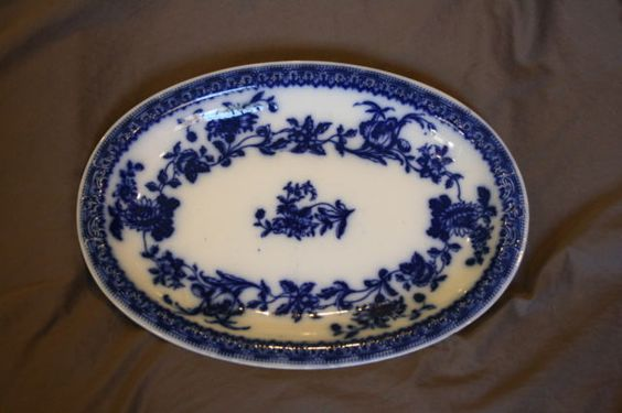 J G Meakin Hudson Pattern Platter Flow Blue Pre 1912   eBay