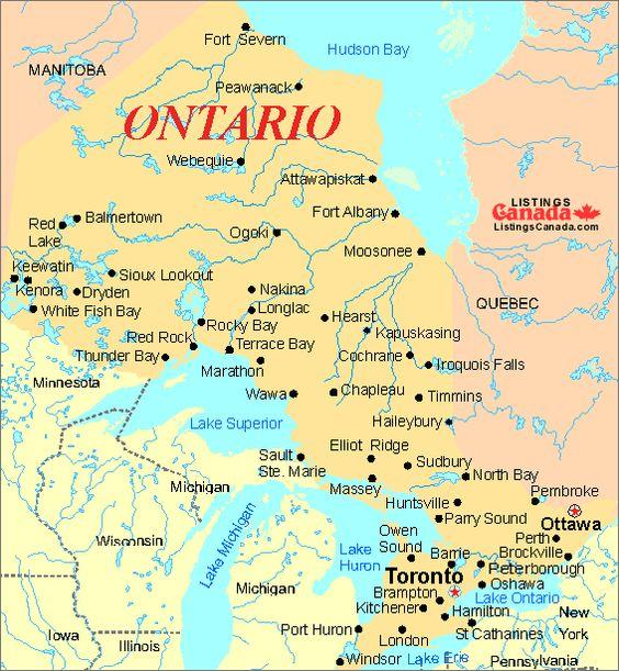 Map Onterio Canada