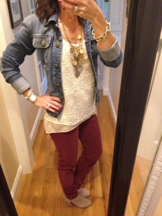 OOTD...CAbi Fall '14  Curvy Bordeaux Skinny Jean, Tile Coin Necklace, Spring '14 It Girl Cami and Cuffed Up Jacket. www.nancydowning-schloss.cabionline.com #cabiclothing
