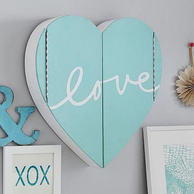 Lovely Heart Jewelry Wall Cabinet