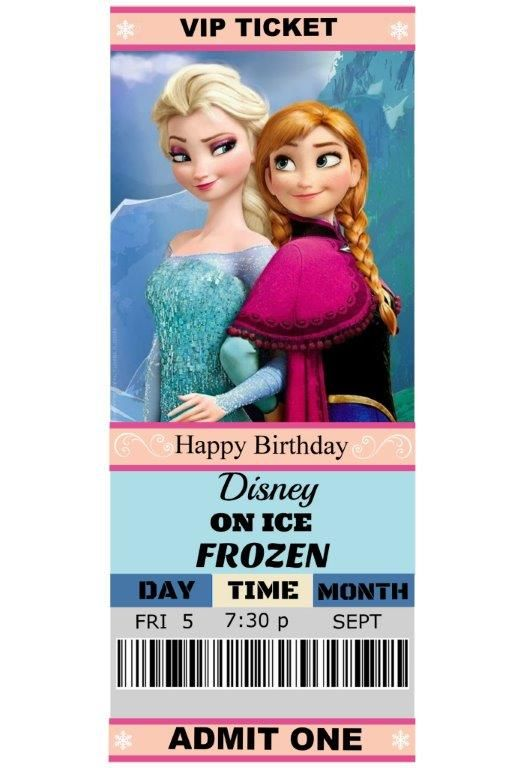 Birthday gift. Disney On Ice Frozen tickets!!! I used a free template ...