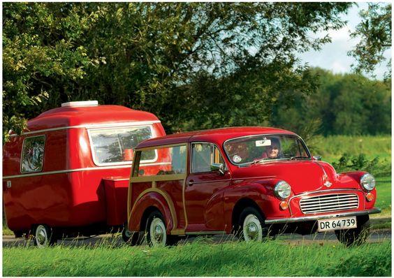 red Morris Minor  matching mini-caravan