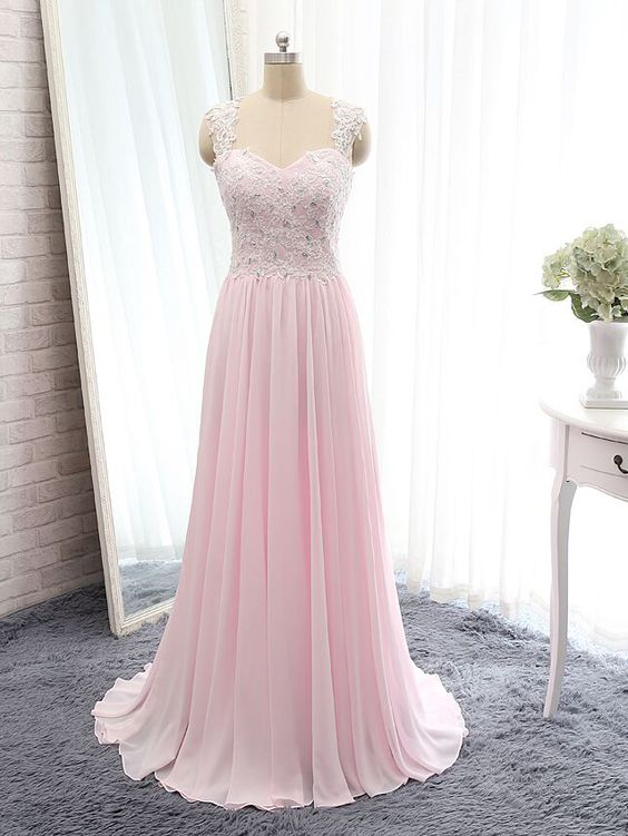 Pink Long Lace Prom Dress 2017