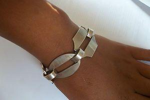 Modernist 1970's Vintage German Solid Silver 800 Chunky Bracelet