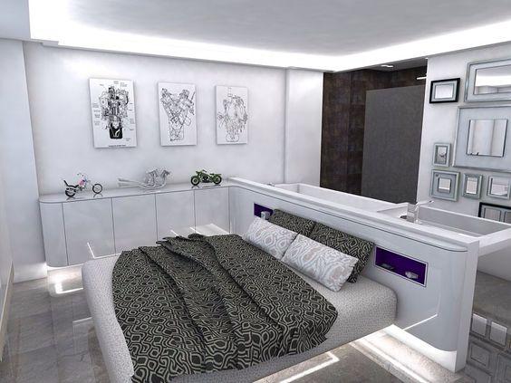 Dormitorio minimalista masculino en laca blanca.