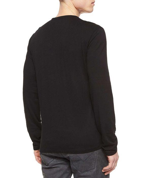 Long-Sleeve Button-Front Henley Shirt, Black
