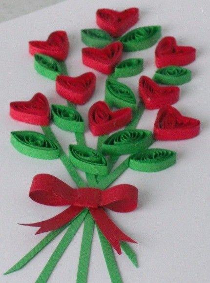 flores de papel, san valentin: